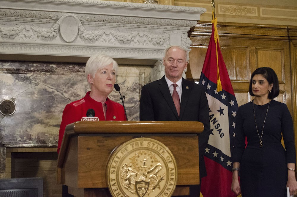 Arkansas DHS Director Cindy Gillespie, Governor Asa Hutchinson and CMS Administrator Seema Verma.