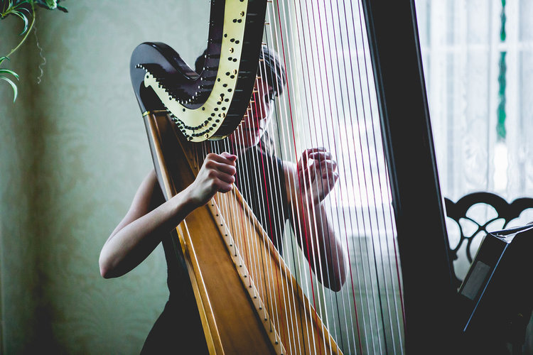Alisa Coffey playing the harp