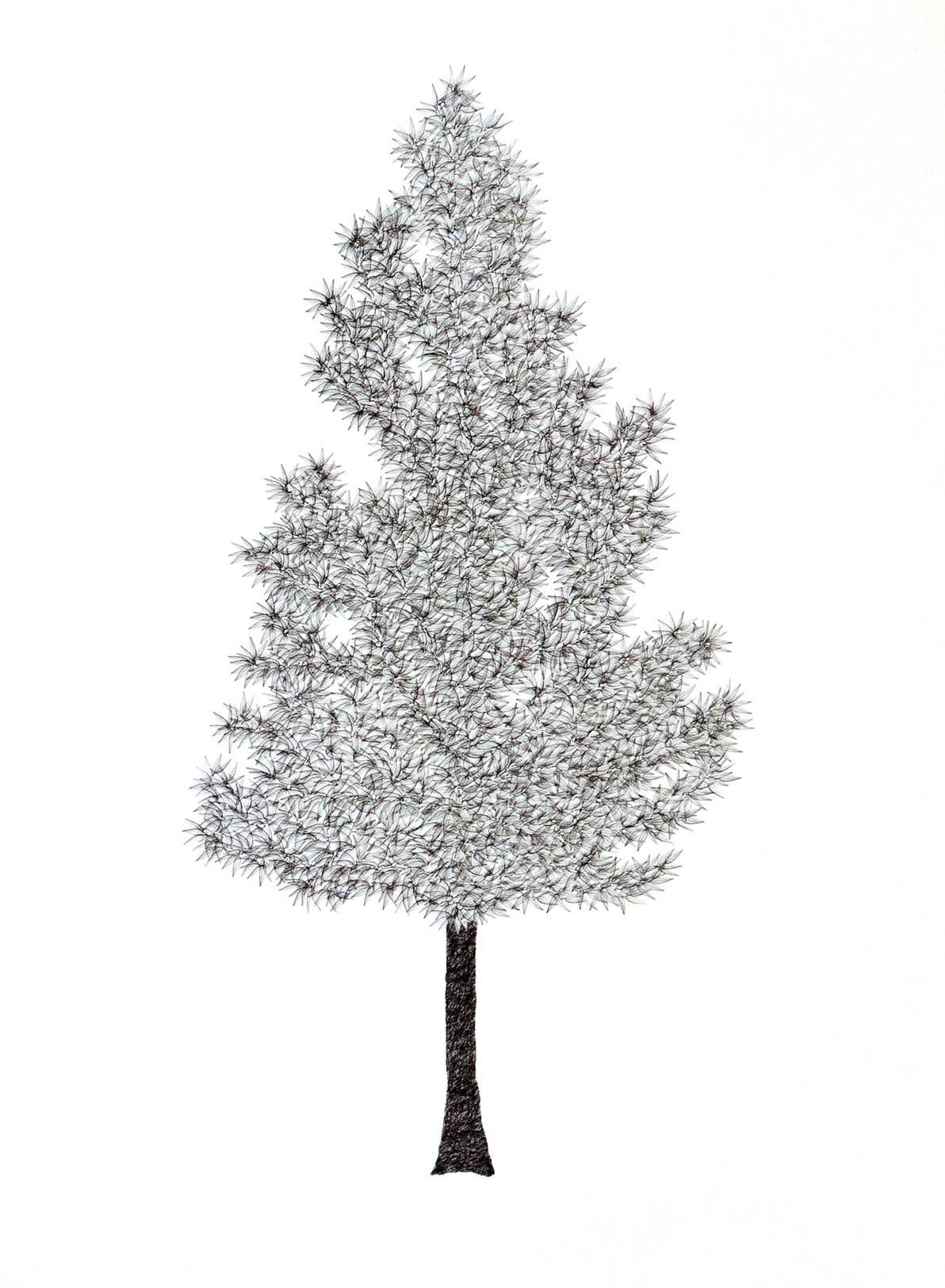 A drawing of a tree made with repeated stamps