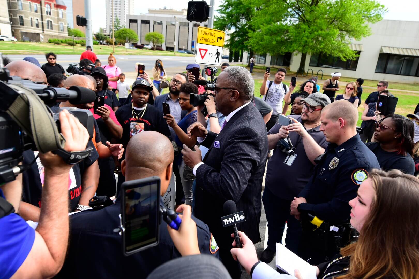 New Little Rock Police Chief Keith Humphrey talks to protestors outside City Hall.