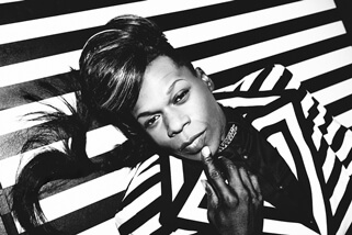 Big Freedia close-up in black and white