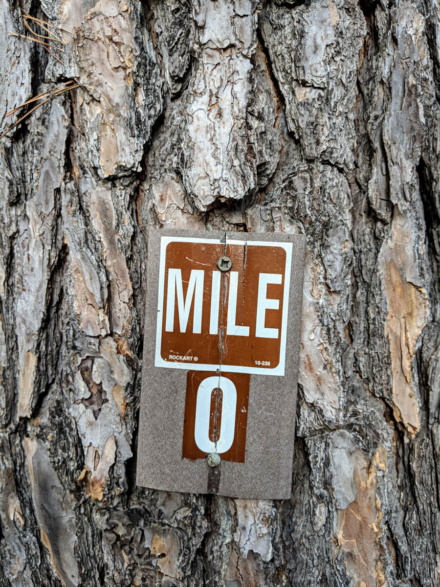 Image of Mile zero of the Ouachita Trail in Oklahoma