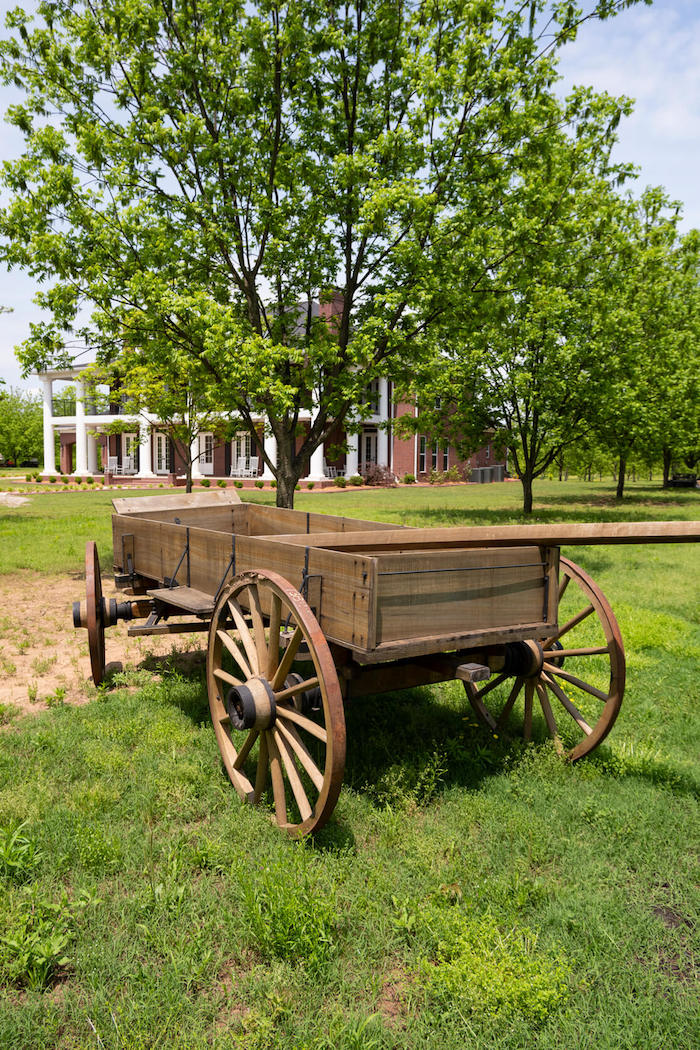 Picture of a wagon on the grounds of Charlotte Teresa Plantation in Pope County
