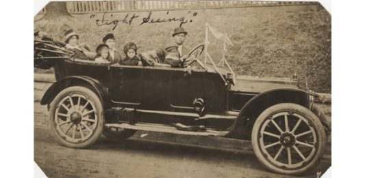 Picture of Fred T. Jones Sr. and family sightseeing in Arkansas circa 1915